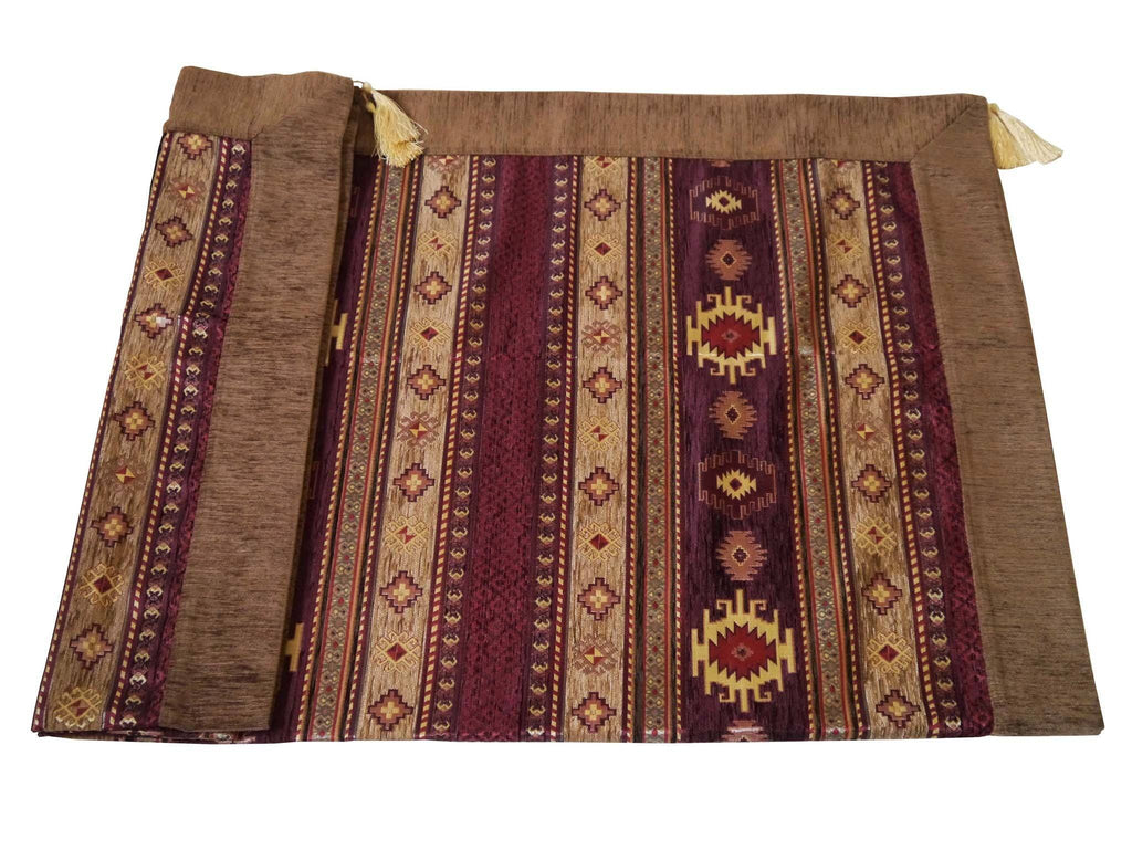 Turkish tablecloth aztec brown maroon