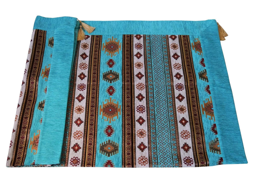 Turkish tablecloth aztec turquoise white