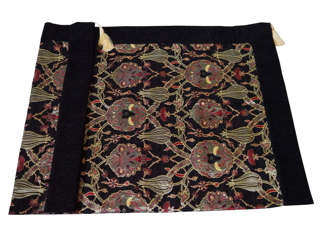 Turkish tablecloth flower pattern black