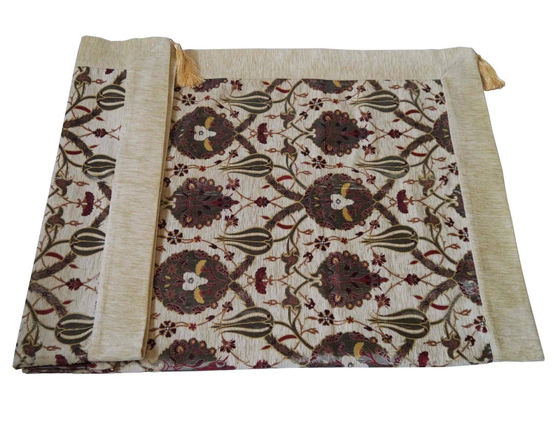 Turkish tablecloth flower pattern beige cream