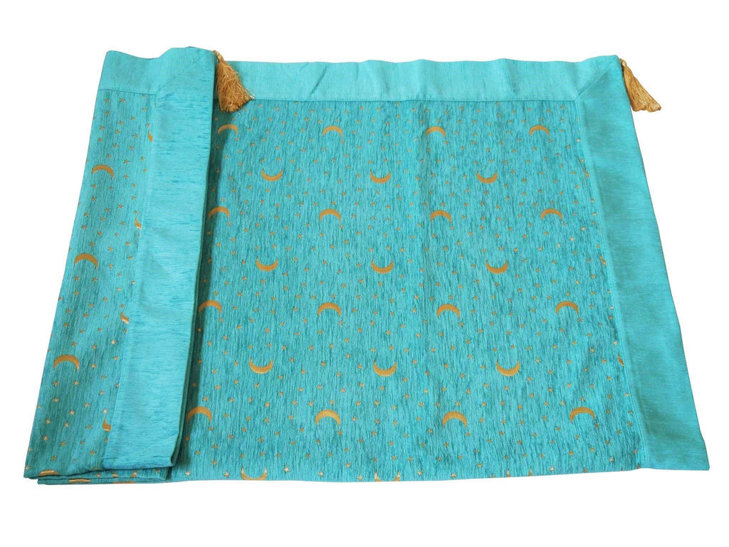 Turkish tablecloth moon stars turquoise