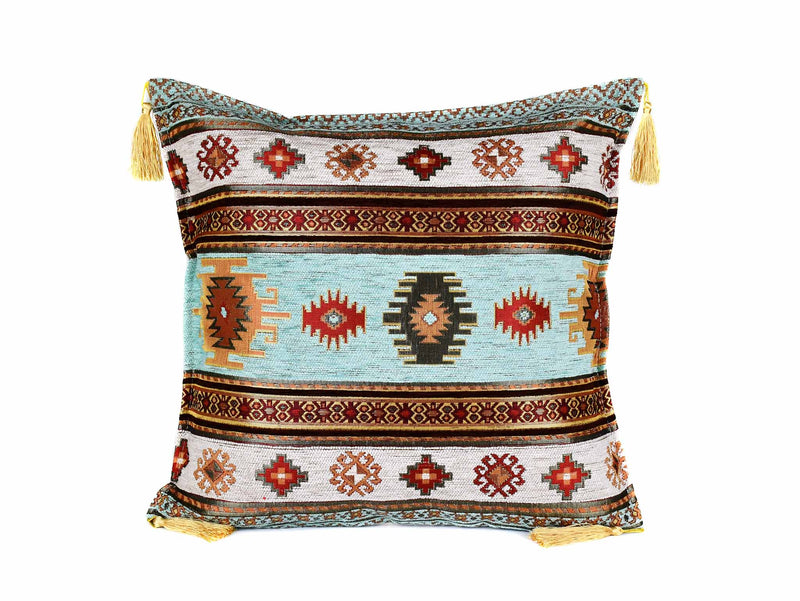 turkish cushion cover aztec aqua white