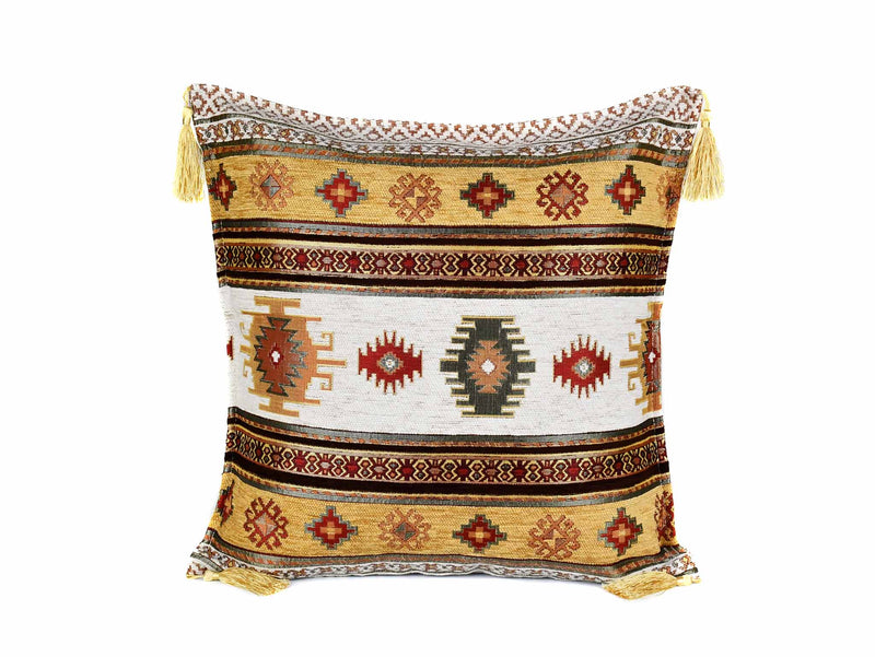 turkish cushion cover aztec golden brown white