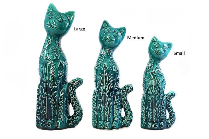 Turkish Ceramic Playful Cat Figurine Dantel White Blue