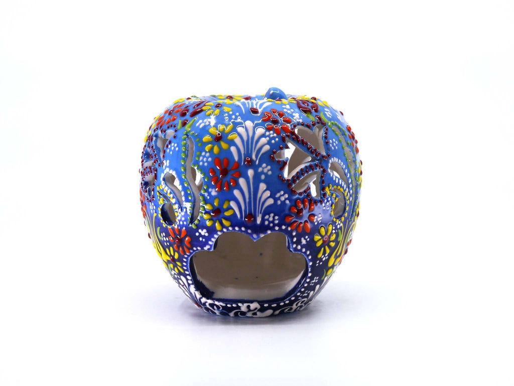 Ceramic Candle Holder Dantel Apple Blue