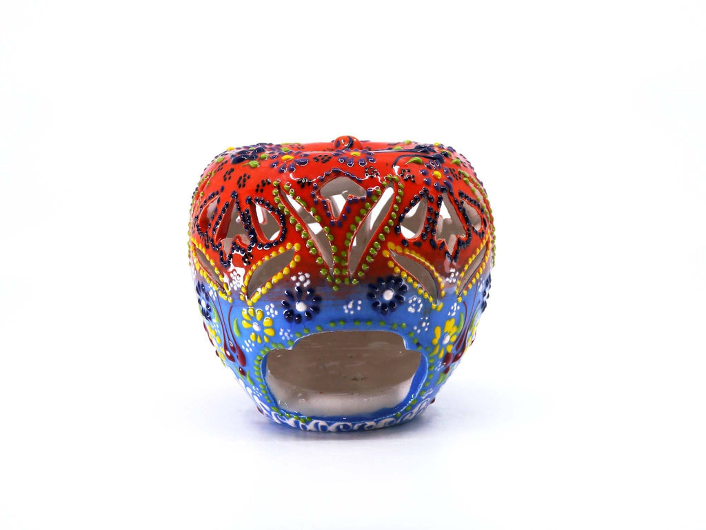 Candle Holder Dantel Collection Apple Orange Blue