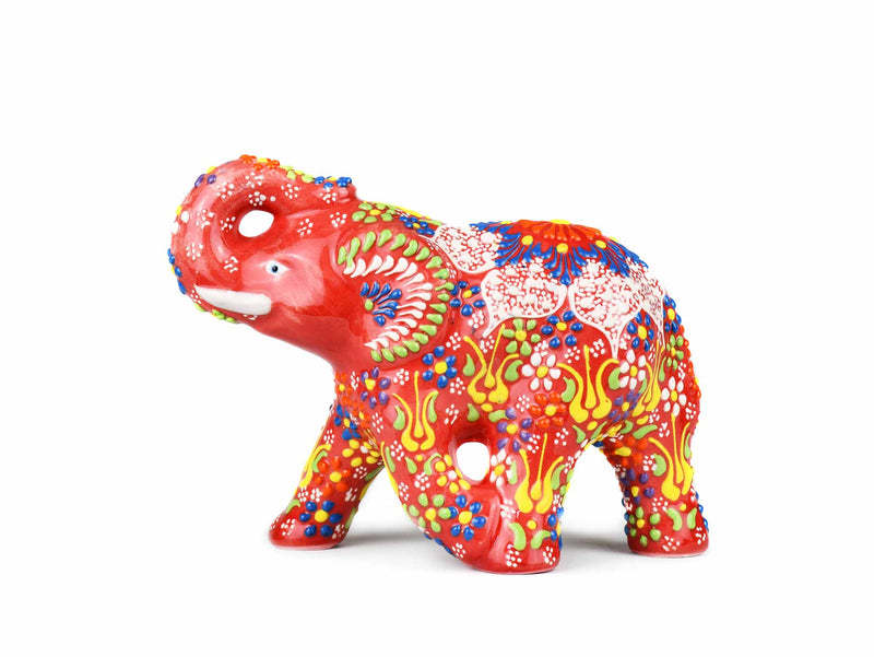 Ceramic Decorative Elephant Medium Red Ceramic Sydney Grand Bazaar