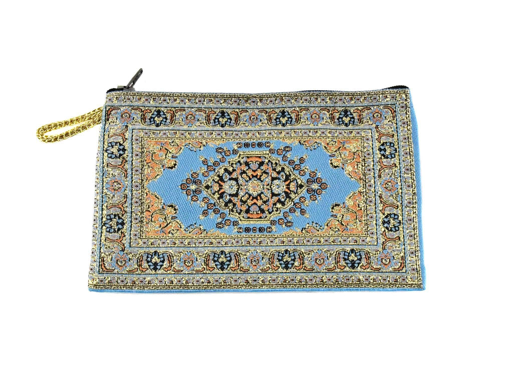 Coin Pouch Carpet Pattern Blue Gold Textile Sydney Grand Bazaar