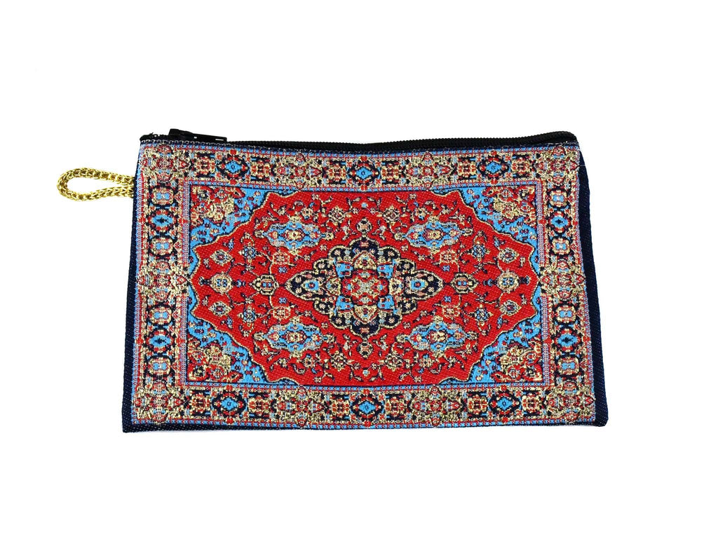 Coin Pouch Carpet Pattern Red Blue Textile Sydney Grand Bazaar
