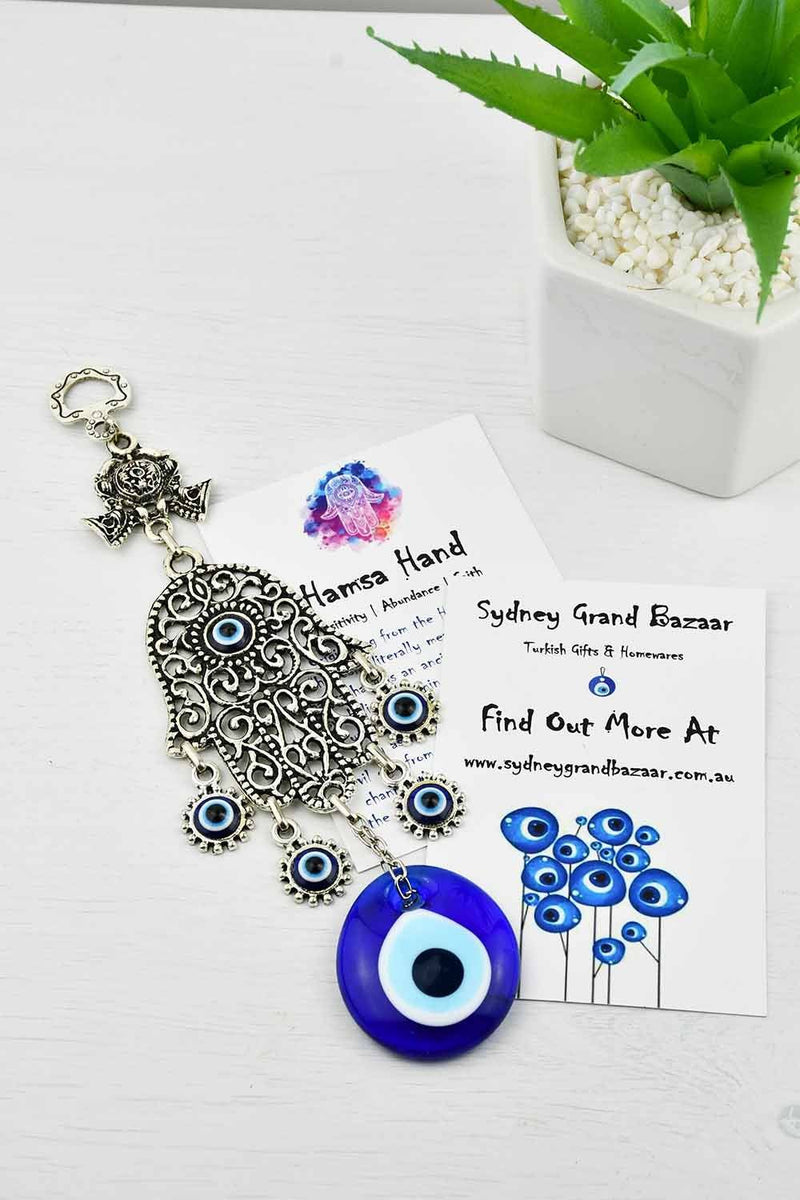 Evil Eye and Hamsa Hand Ornament Filigree Design 2 Small Evil Eye Sydney Grand Bazaar