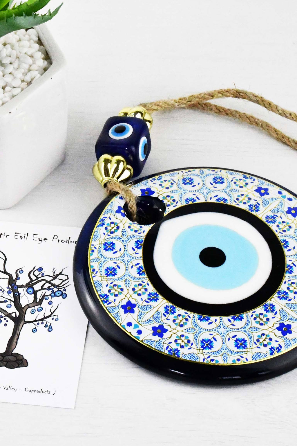 Evil Eye Glass Beads Blue Tile Printed Wall Hanging Evil Eye Sydney Grand Bazaar