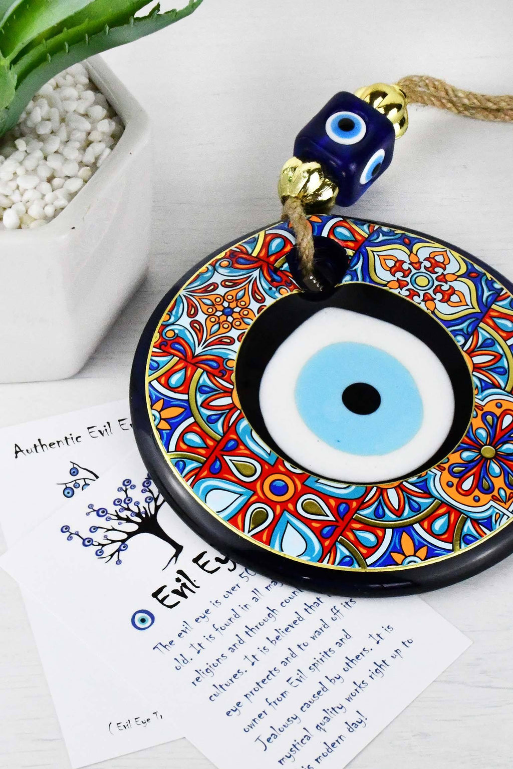 Evil Eye Glass Beads Colourful Tile Printed Wall Hanging Evil Eye Sydney Grand Bazaar