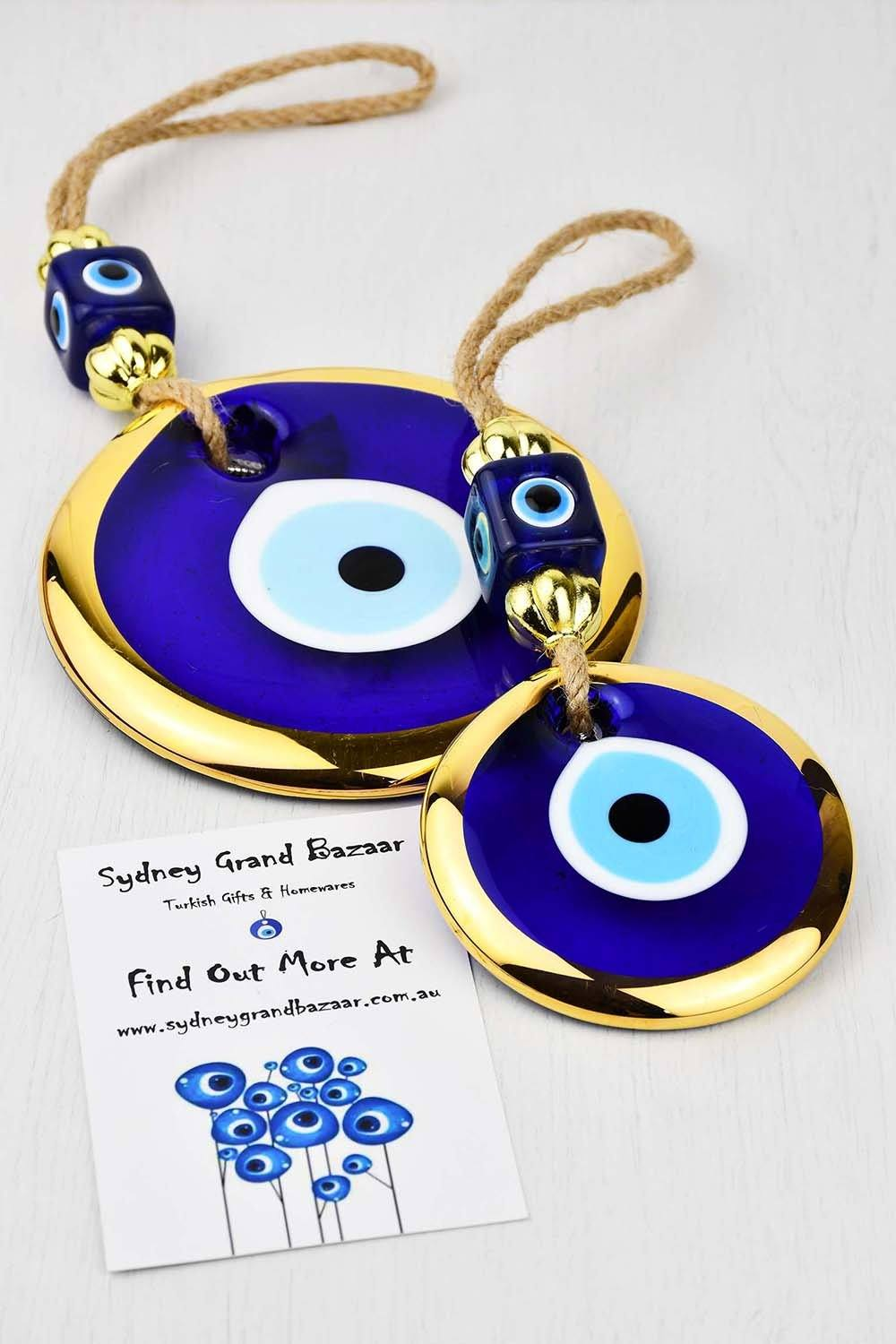 Evil Eye Glass Beads Gold Colour Edge Wall Hanging Evil Eye Sydney Grand Bazaar