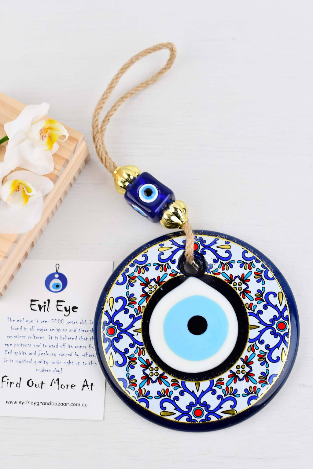 Evil Eye Glass Beads Multicoloured Tile Printed Wall Hanging 2 Evil Eye Sydney Grand Bazaar