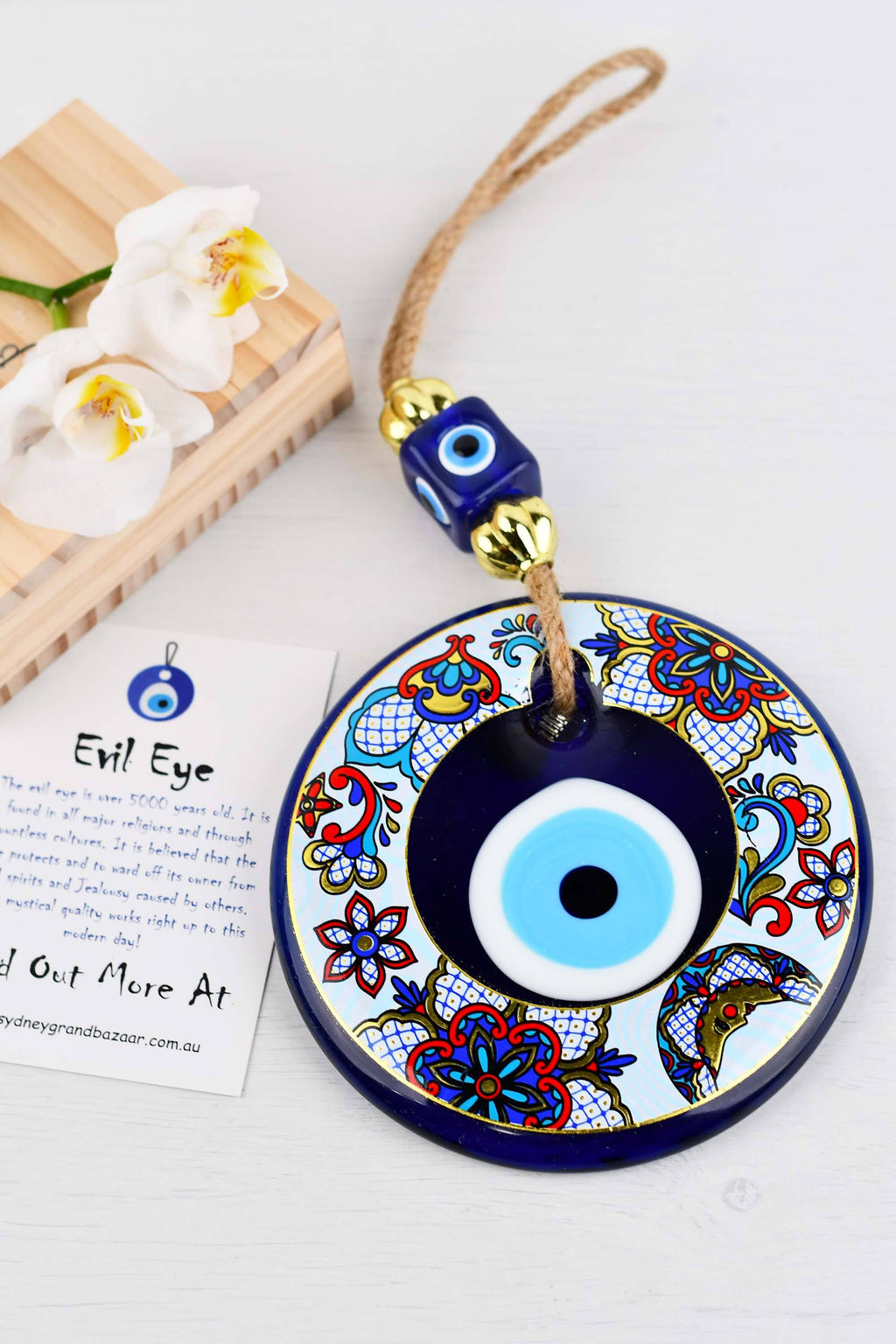 Evil Eye Glass Beads Multicoloured Tile Printed Wall Hanging 3 Evil Eye Sydney Grand Bazaar