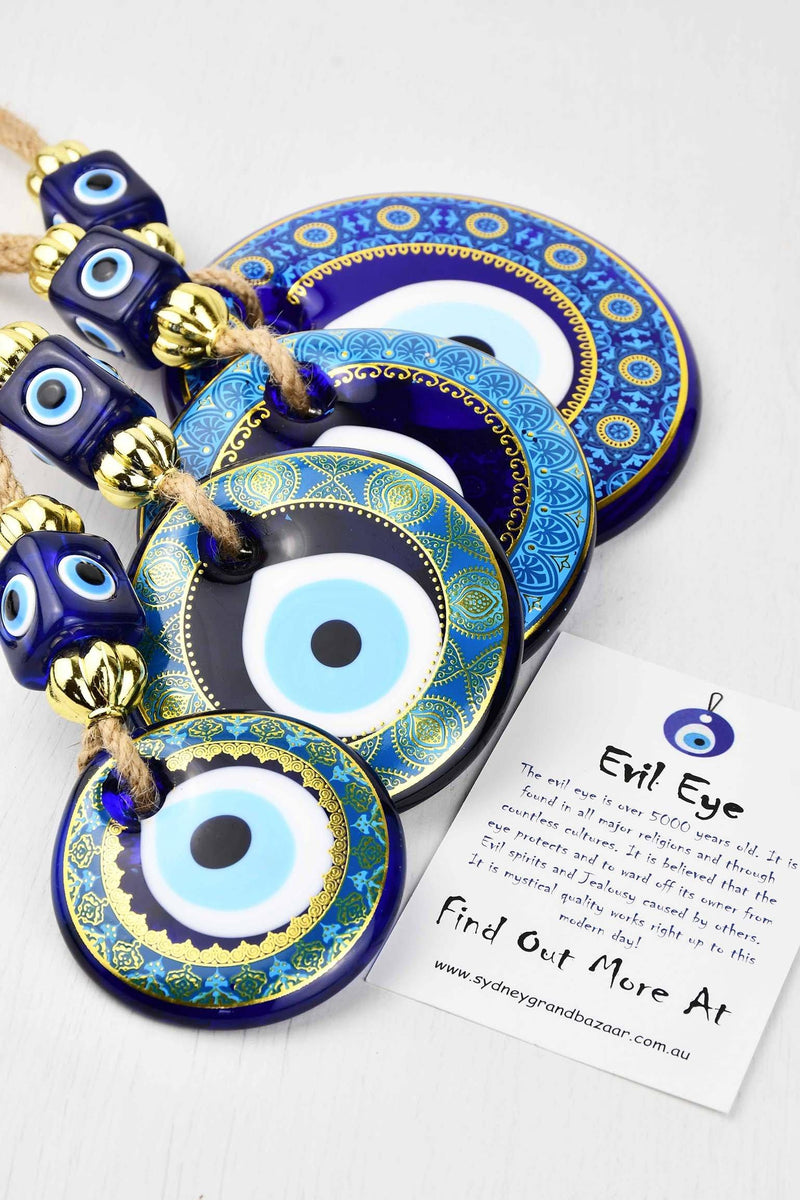 Evil Eye Ornament Horseshoe Down With Small Elephant Medium