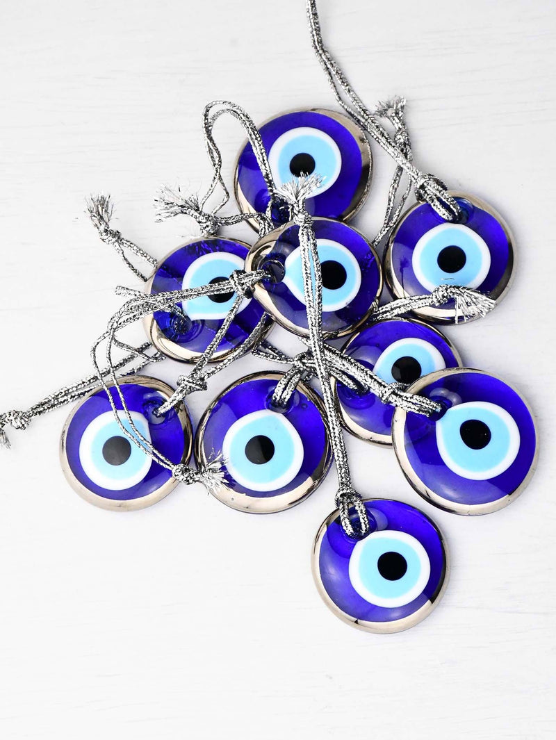 Evil Eye Glass Beads Gold Colour Edge Wall Hanging