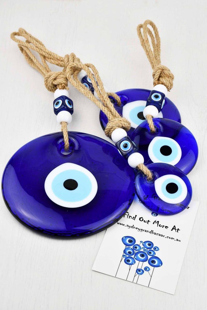 Evil Eye Glass Round Frame Tassel Extra Large