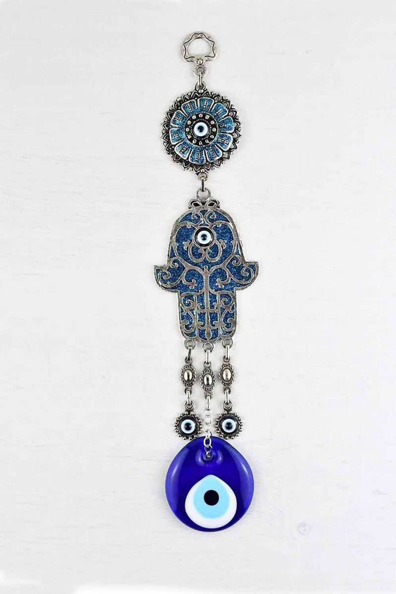 Evil Eye Hamsa Hand Ornament Metallic Blue Medium Evil Eye Sydney Grand Bazaar