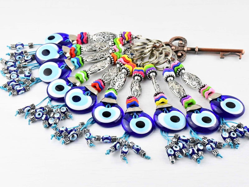 Evil Eye Keyring Colourful Blue Glass