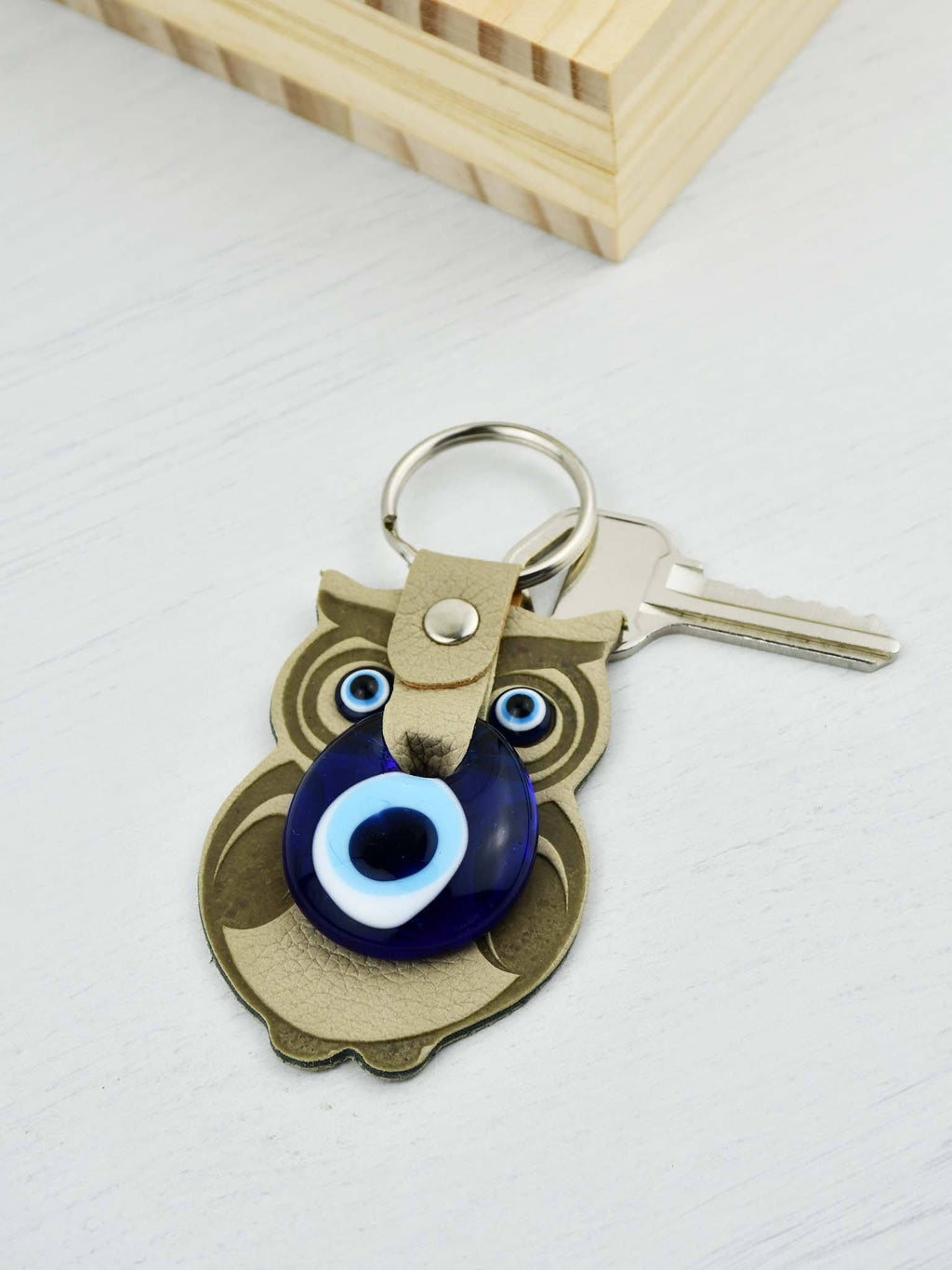 Evil Eye Keyring Faux Leather Owl Beige Evil Eye Sydney Grand Bazaar