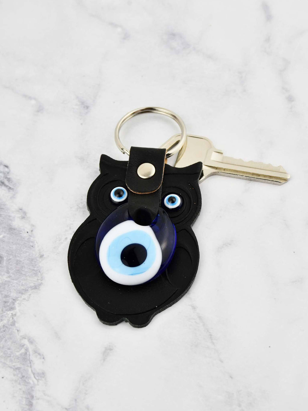 Evil Eye Keyring Faux Leather Owl Black Evil Eye Sydney Grand Bazaar