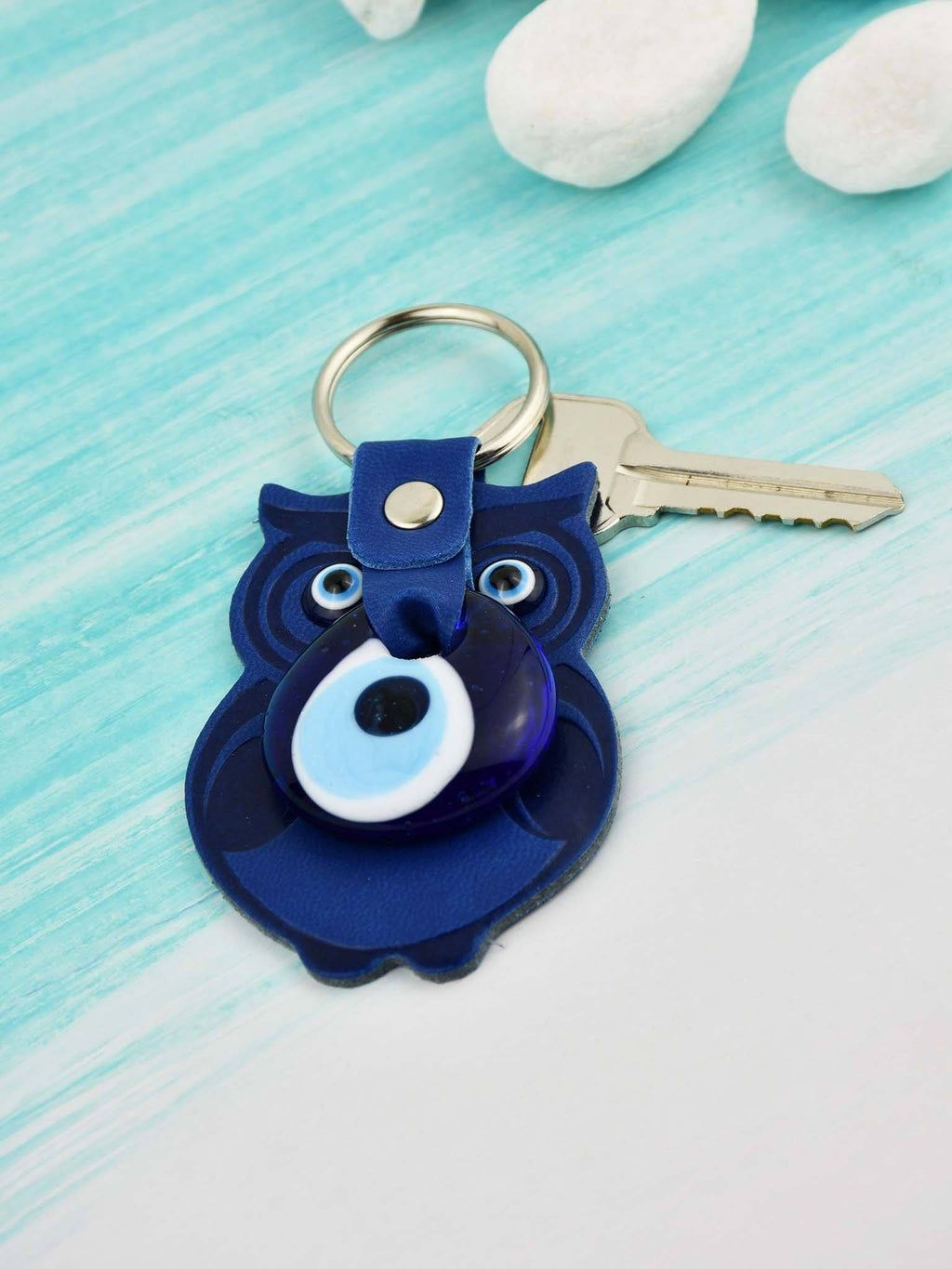 Evil Eye Keyring Faux Leather Owl Blue Evil Eye Sydney Grand Bazaar