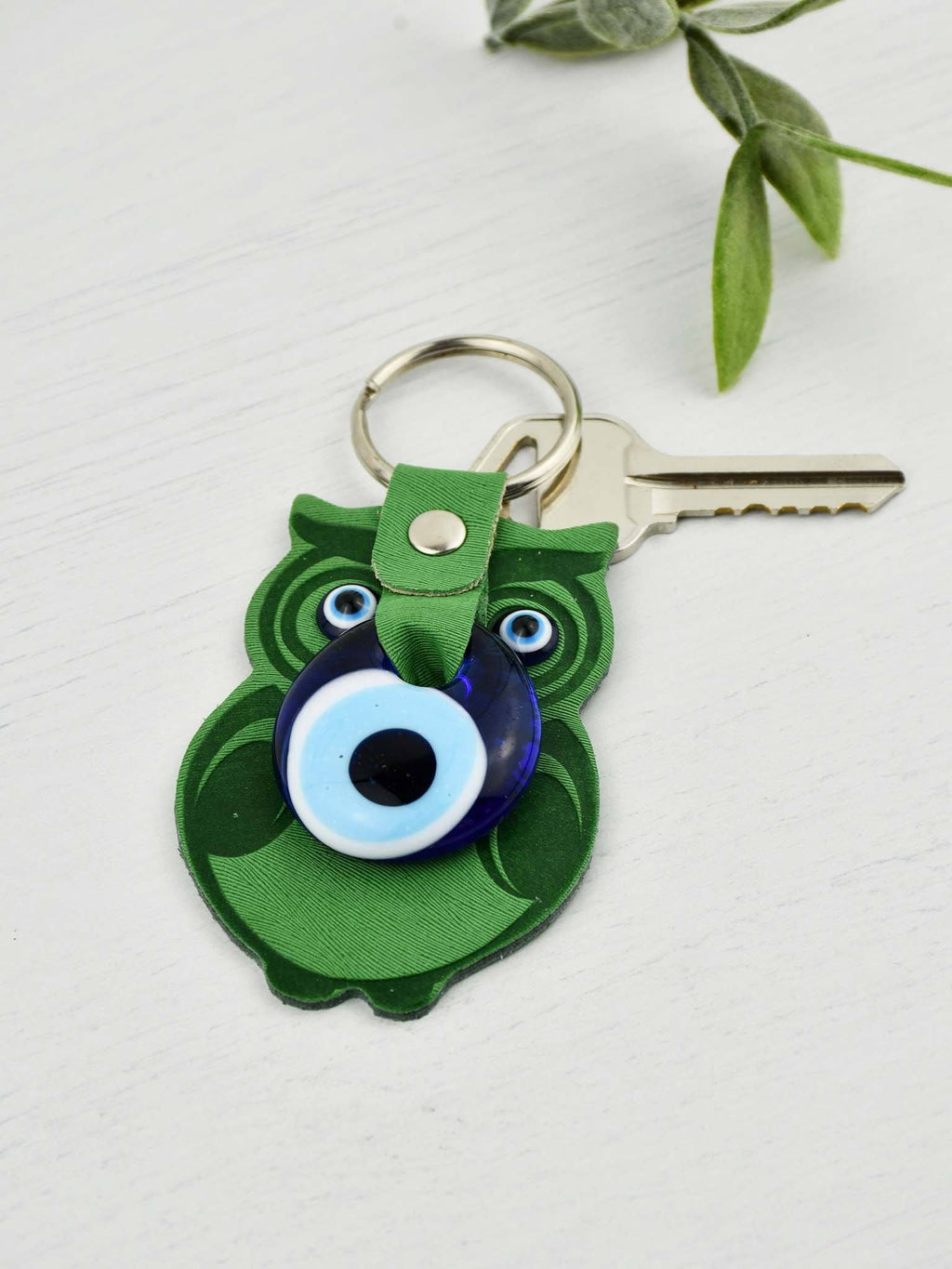 Evil Eye Keyring Faux Leather Owl Green Evil Eye Sydney Grand Bazaar
