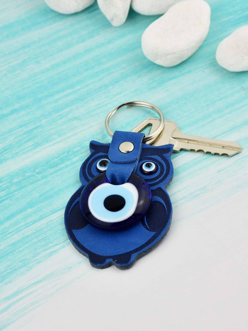 Evil Eye Keyring Faux Leather Owl Navy Blue Evil Eye Sydney Grand Bazaar