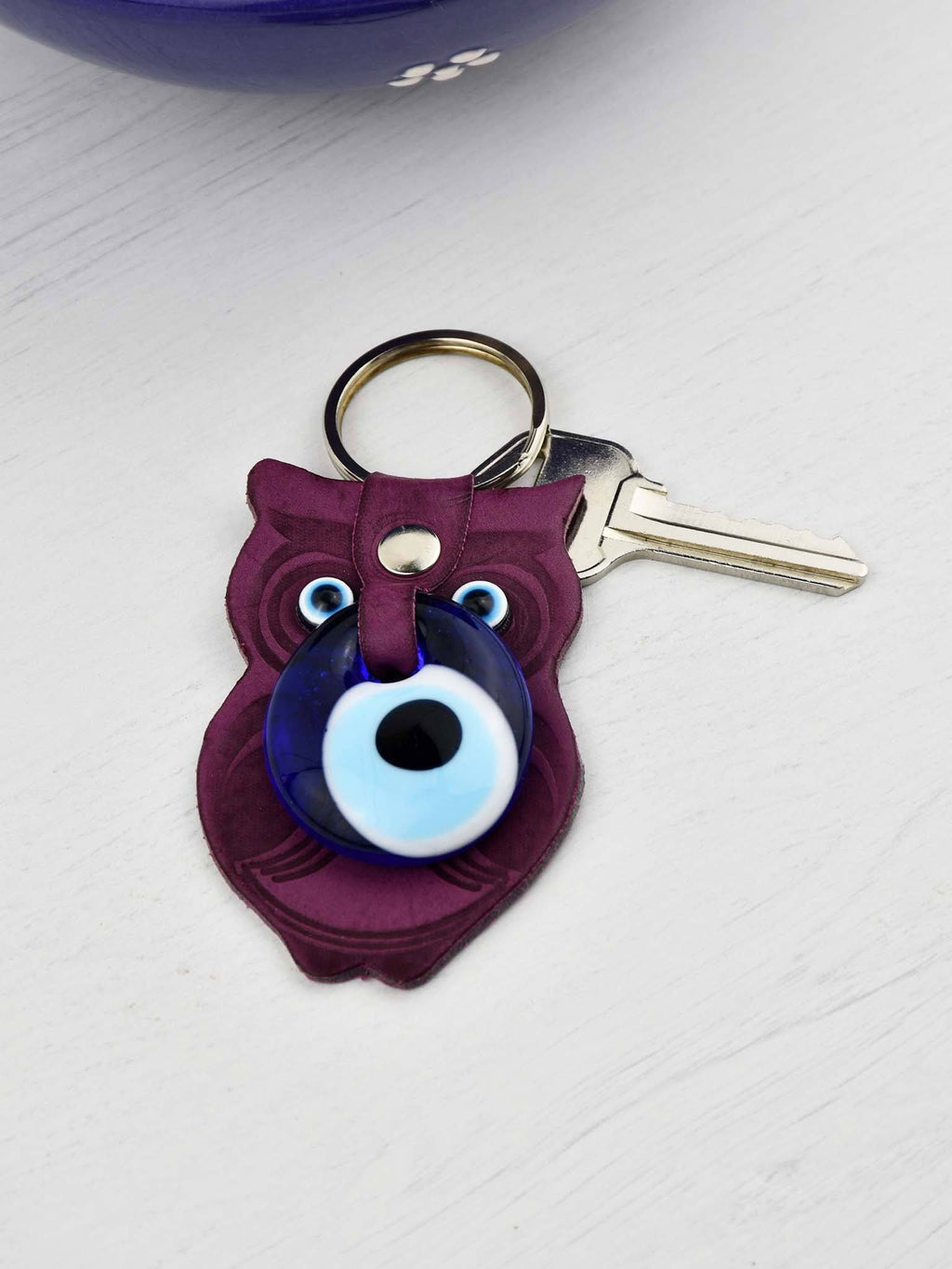 Evil Eye Keyring Faux Leather Owl Purple Evil Eye Sydney Grand Bazaar
