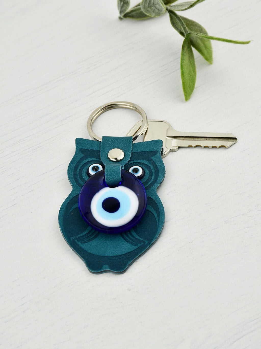 Evil Eye Keyring Faux Leather Owl Teal Green Evil Eye Sydney Grand Bazaar