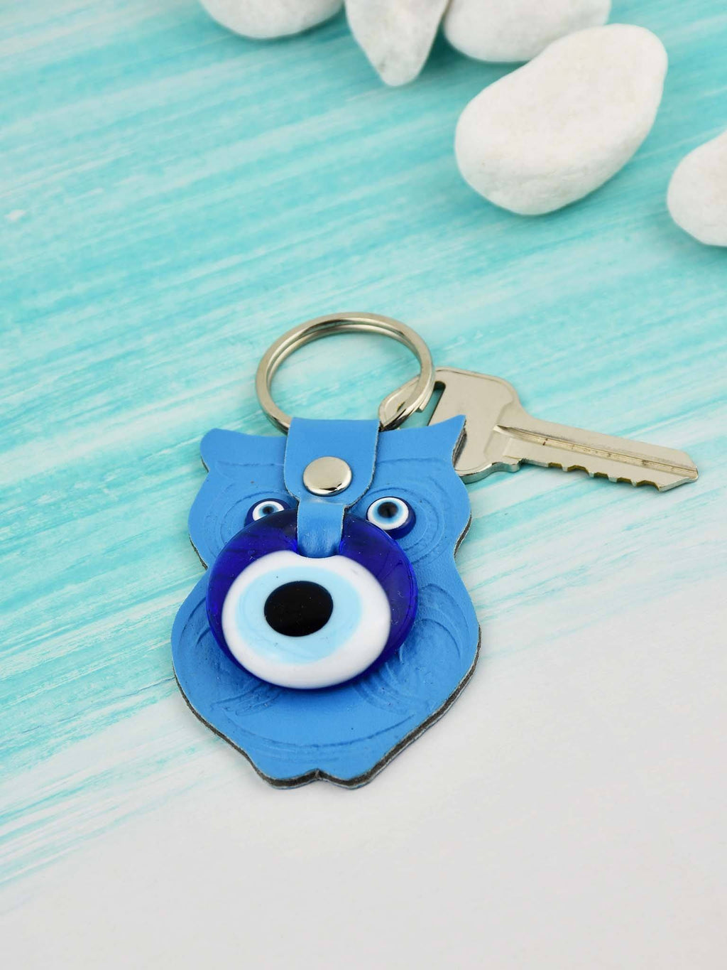 Evil Eye Keyring Faux Leather Owl Turquoise Evil Eye Sydney Grand Bazaar