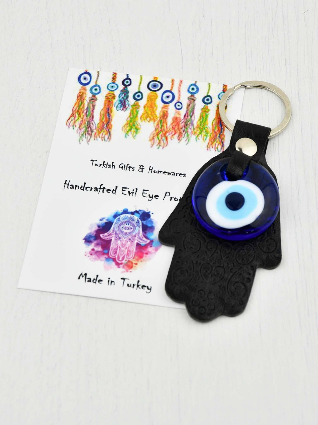Evil Eye Keyring Leather Hamsa Hand Black Evil Eye Sydney Grand Bazaar
