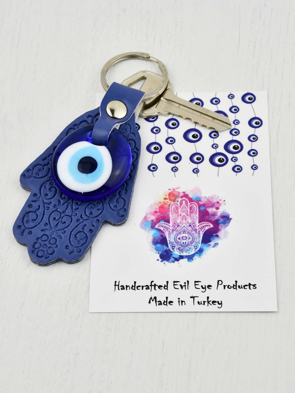 Evil Eye Keyring Leather Hamsa Hand Purple Evil Eye Sydney Grand Bazaar