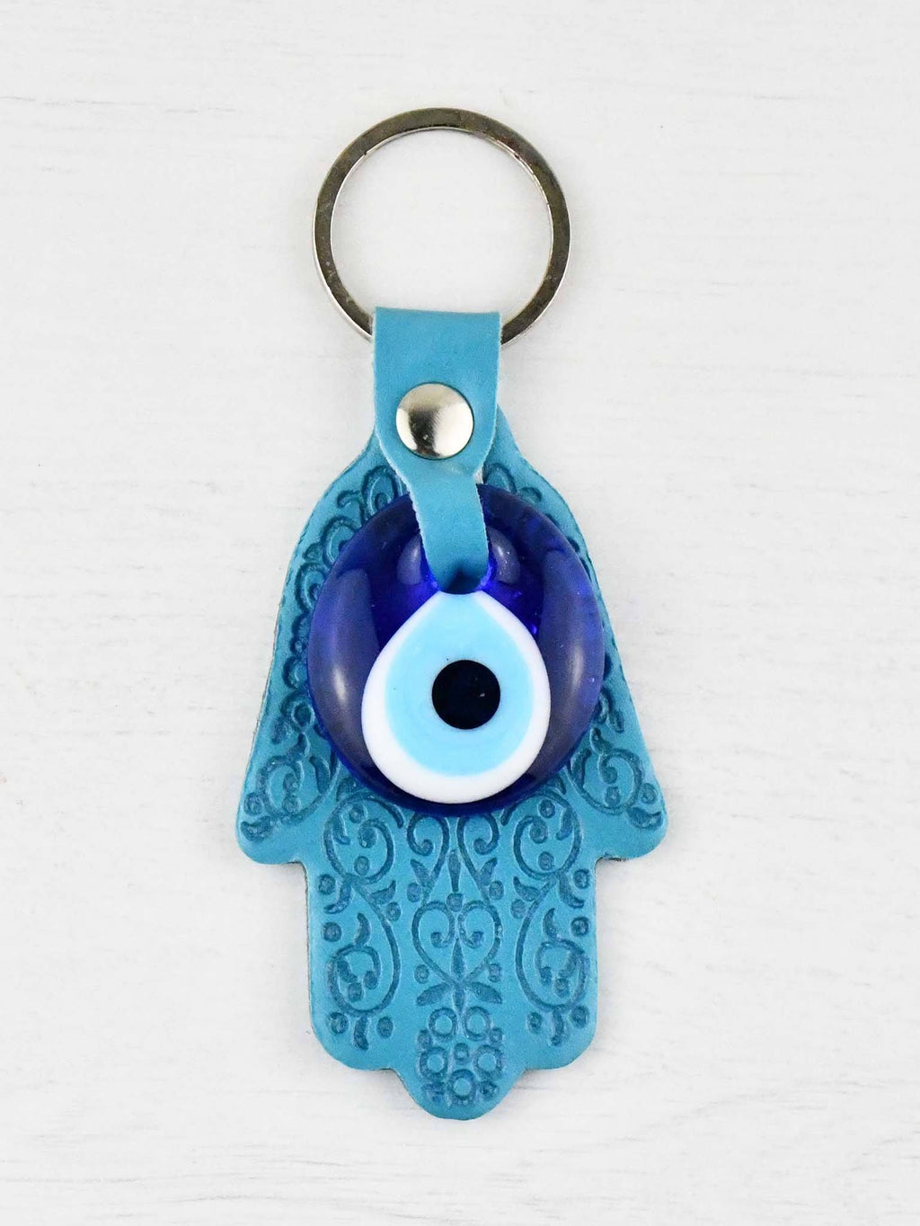 Evil Eye Keyring Leather Turquoise