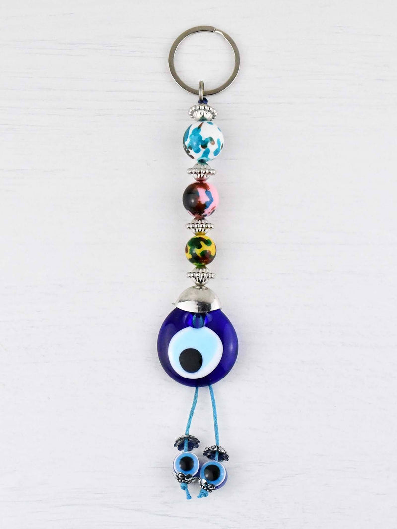 Evil Eye Keyring Colourful Balls White