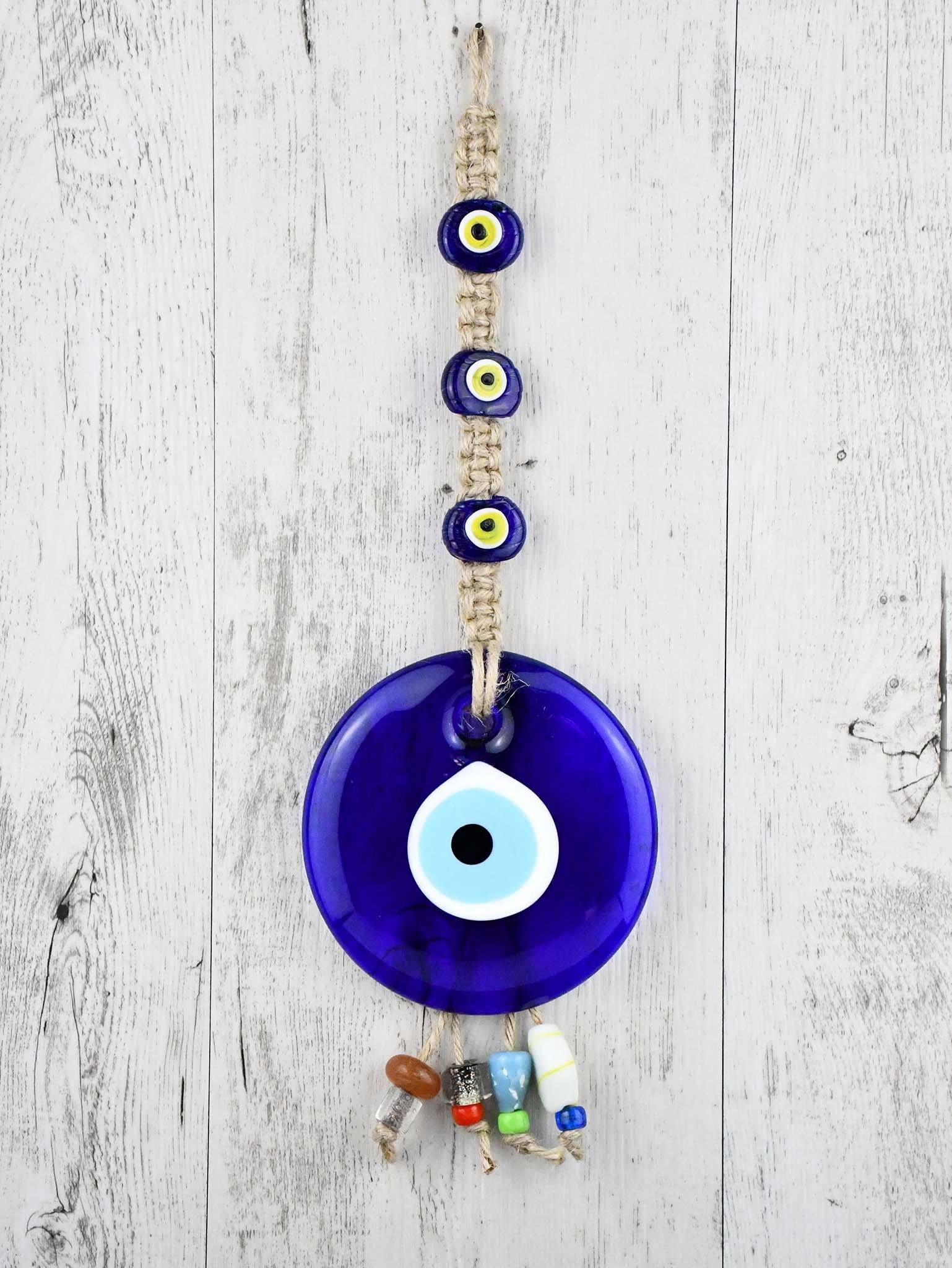 Evil Eye Ornament Beads Rope Tied Large