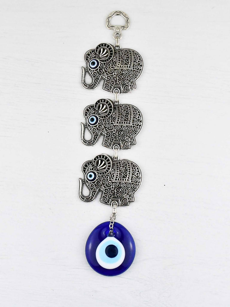Evil eye wall ornament triple elephant