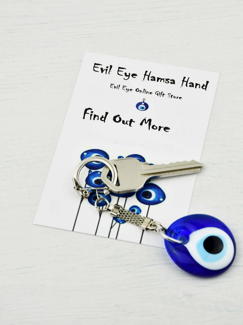 Evil Eye Keyring Double Eye Beads Small Yellow Ball