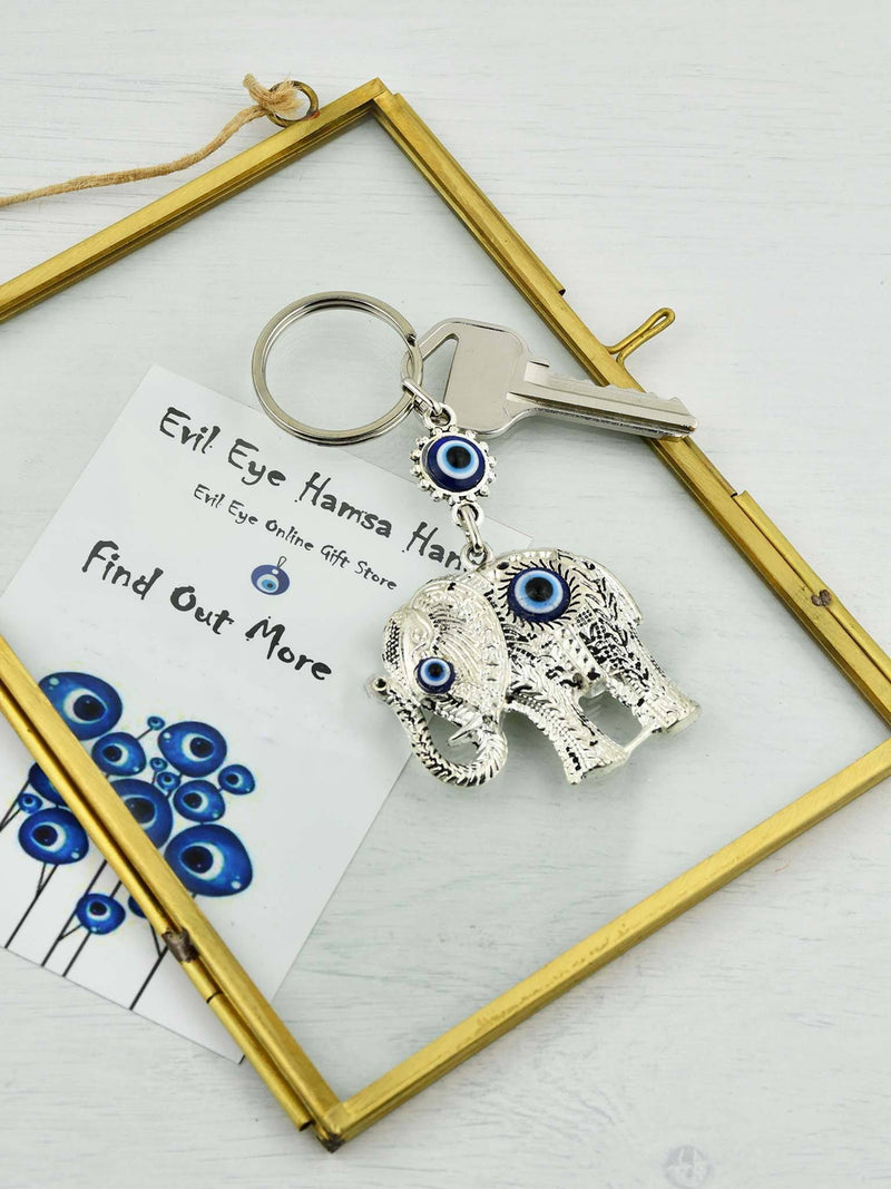 Evil Eye Keyring with Colourful Dark Blue Ball
