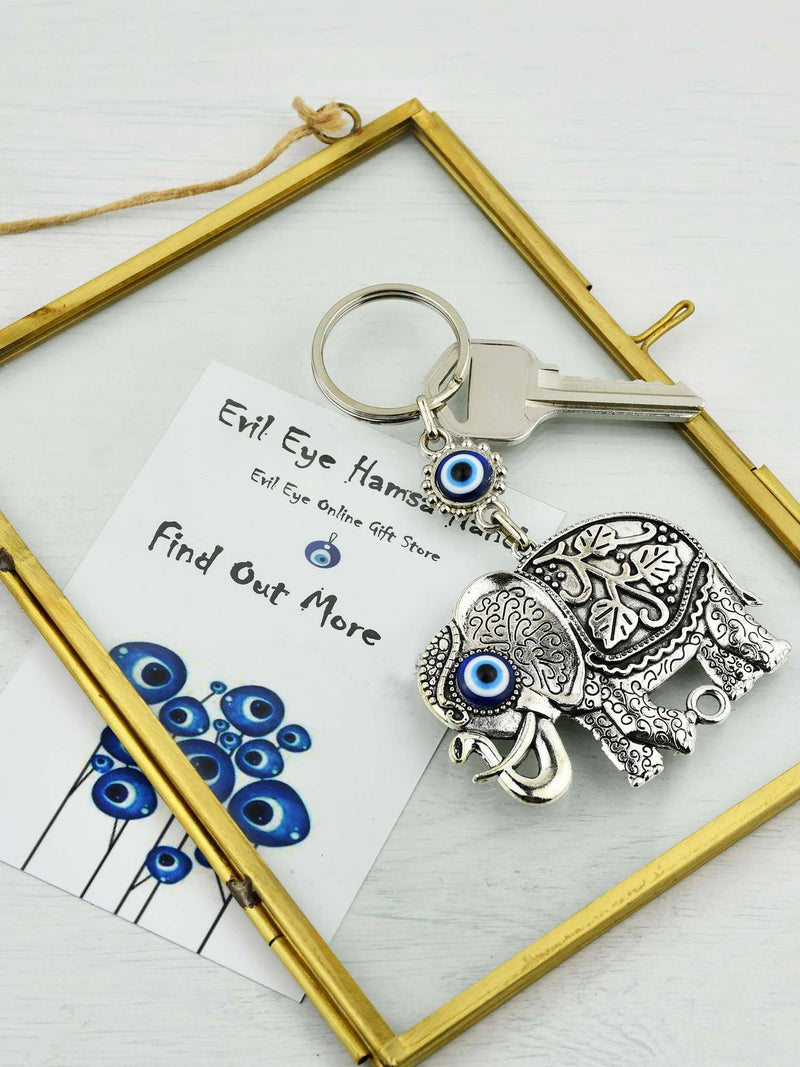 Evil Eye Keyring Faux Leather Owl Brown