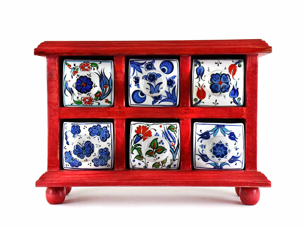 Handmade Wooden 6 Drawers Storage Box Red Colour Sydney Grand Bazaar
