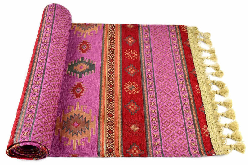 Table Runner Aztec Fuchsia Red Textile Sydney Grand Bazaar