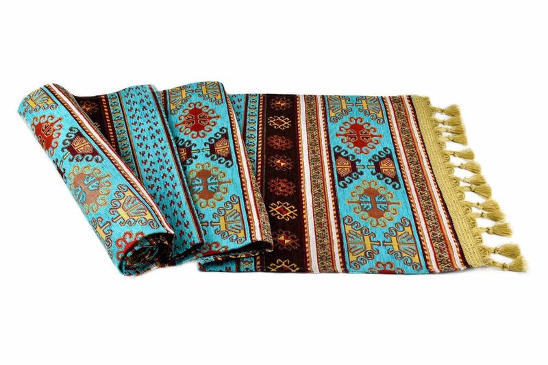 Table Runner Aztec Turquoise Brown Textile Sydney Grand Bazaar