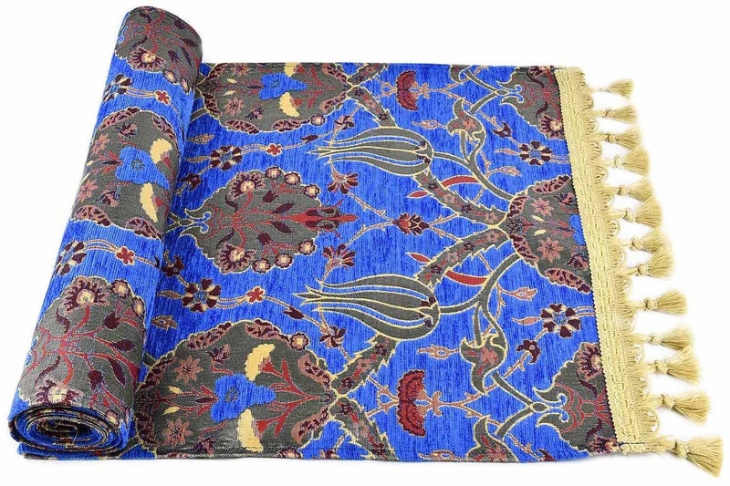Table Runner Flower Bright Blue Textile Sydney Grand Bazaar