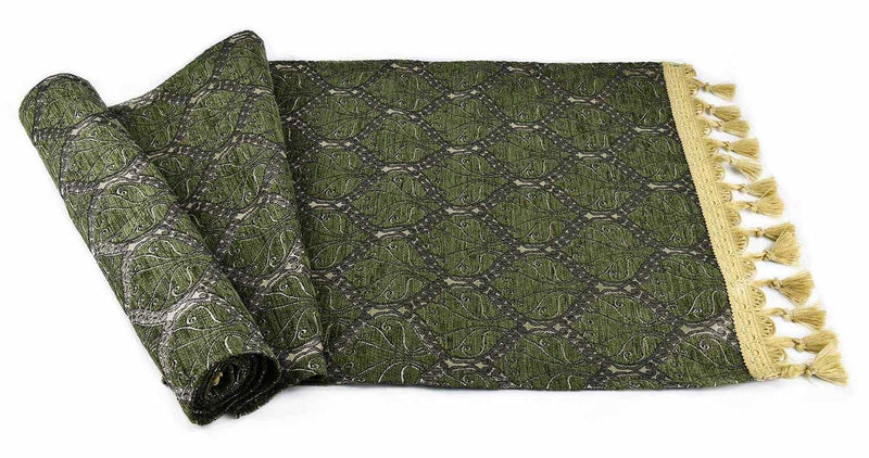 Table Runner Traditional Olive Green Textile Sydney Grand Bazaar