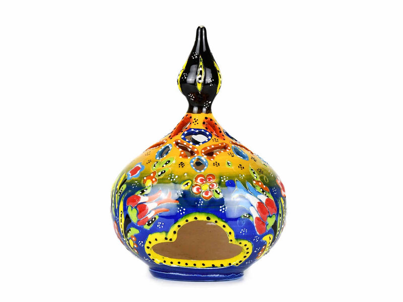 Turkish Candle Holder Flower Large Pear Yellow Blue Ceramic Sydney Grand Bazaar