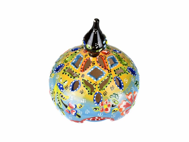 Turkish Candle Holder Flower Large Pear Yellow Light Blue Ceramic Sydney Grand Bazaar
