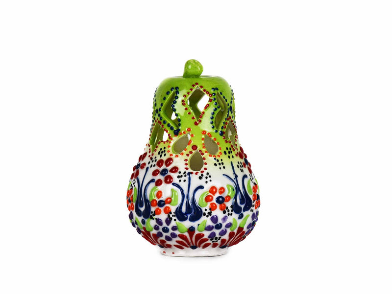 Turkish Ceramic Candle Holder Small Pear Light Green White 2 Ceramic Sydney Grand Bazaar