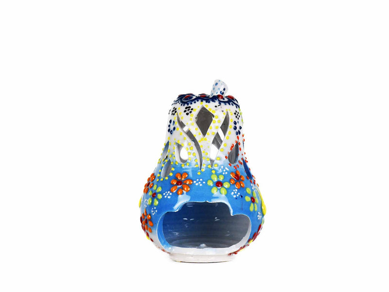 Turkish Candle Holder Flower Large Pear Yellow Light Blue